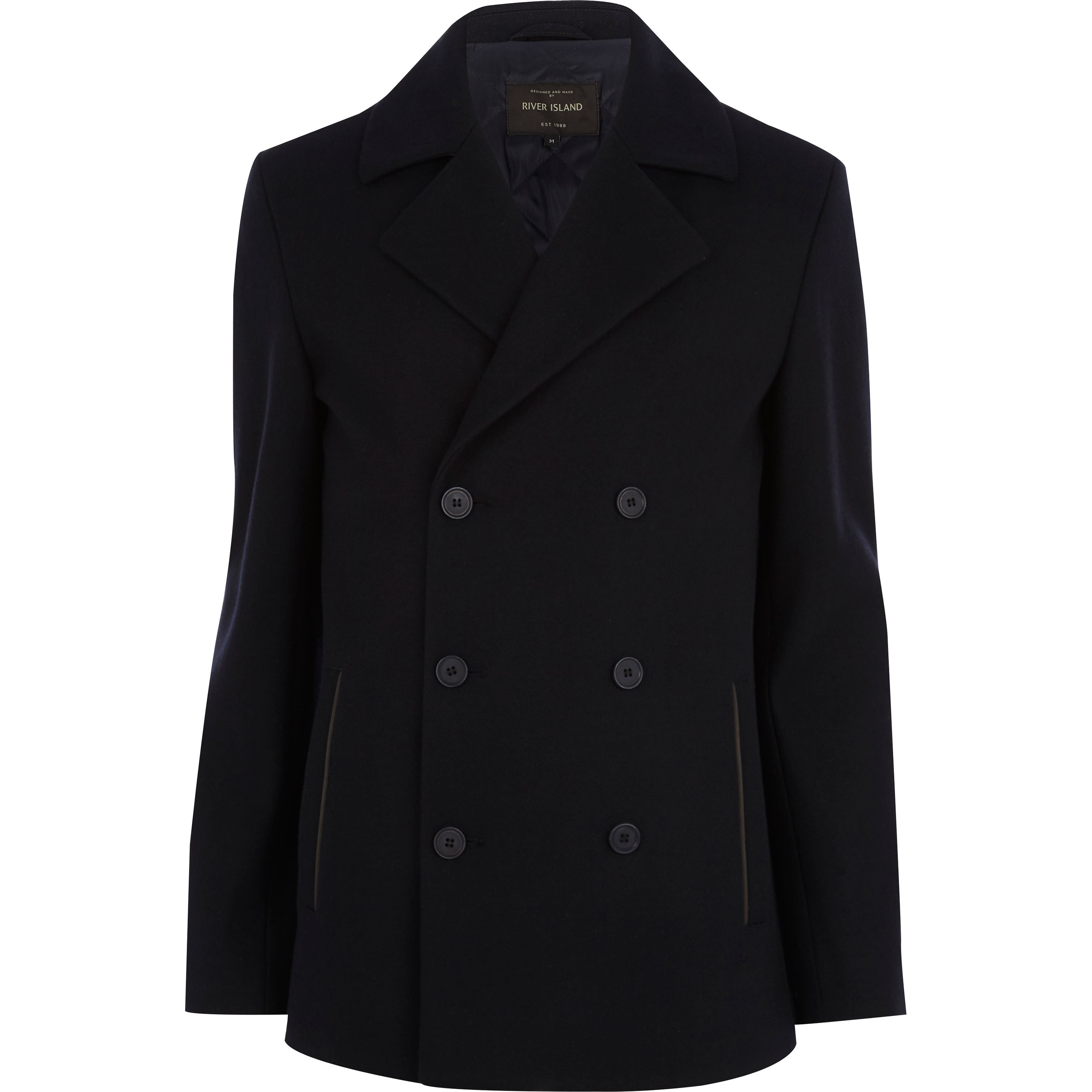 Navy Wool Blend Pea Coat €110 at River Island