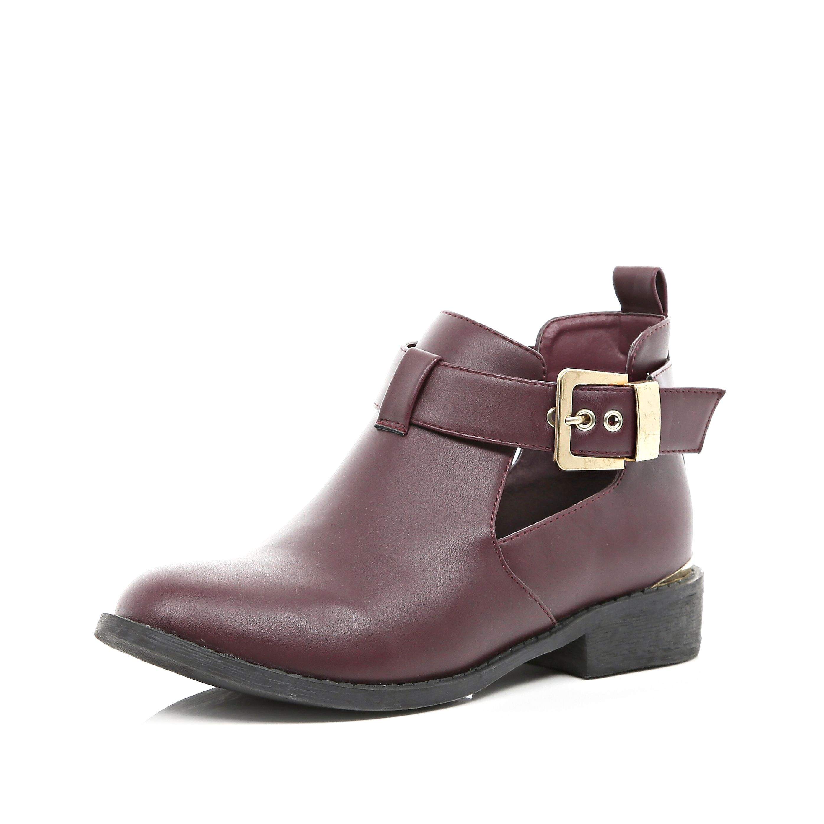 River Island Dark Red Cut-Out Ankle Boots €45